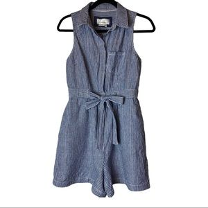 Anthropologie Blue White Tie Waist Romper Size 2